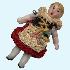 """1.25"""" Tiny All Bisque Antique German Carl Horn Doll Crochet Dress Outfit"""