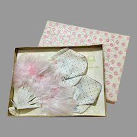 Lovely Vintage Feather Fan & Hankie Original Box Doll Size