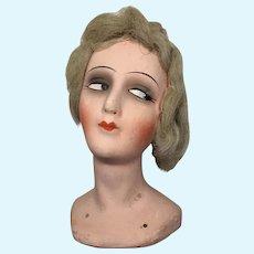 Vintage Boudoir Bed Doll Flapper or Half Doll Papier Mache Head