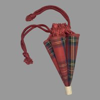 Fun Vintage Plaid English Doll Purse Reticule Style Draw String Faux Parasol Umbrella Tagged
