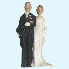 German All Bisque Miniature Antique Bride Groom Doll Pair Cake Topper
