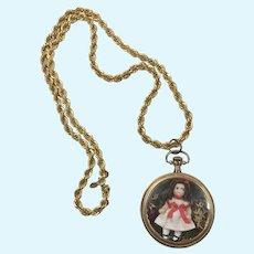 Tiny Artist Miniature Googly Doll Vintage Pocket Watch Case Chain