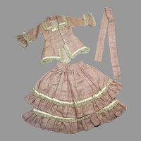 Excellent 3 Piece Fashion Doll Walking Suit Top Skirt Belt Bisque China