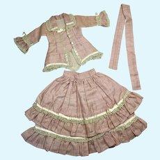 Excellent 3 Piece Fashion Doll Walking Suit Top Skirt Belt Bisque China