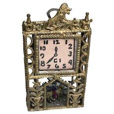Vintage Soft Metal Ornate Pendulum Clock Miniature Dollhouse Doll