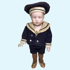 Gebruder Heubach Pouty Character Sailor Boy Candy Container Type Body Antique Bisque
