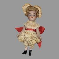 "2.5"" German All Bisque Swivel Neck Mignonette Antique Doll"