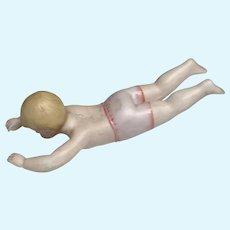 Unusual German All Bisque Bather Bath Doll Antique Swimmer Boy Molded Trunks