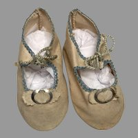 Nice Antique Cloth Doll Shoes Metal Buckle Bow Blue Trim
