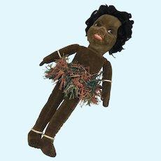 "13"" Glass Eye Swivel Neck Vintage Norah Wellings Black Cloth Doll Islander"