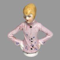 German Antique Half Doll Pin Cushion Pink Top