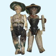 "Antique 1.5"" Tiny Peg Wood Doll Molded Hat Miniature Pair"