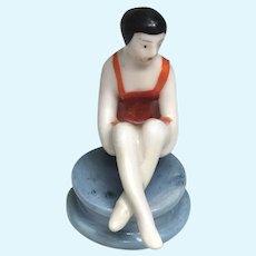 Miniature Bathing Beauty Half Doll Pin Cushion Antique