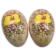 Large Vintage German Papier Mache Hanging Easter Egg Candy Container