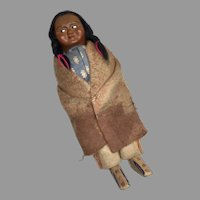 Vintage Native American Skookum Bully Good Label Wood Feet Indian Doll