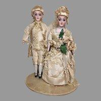 Exquisite Bride Groom Doll Antique Bisque Wedding Cake Topper Simon Halbig 1160 Dollhouse