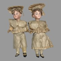 Twin Factory Original German Bisque Antique Doll Dollhouse Twins