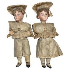Twin Factory Original German Bisque Antique Doll Dollhouse Twins