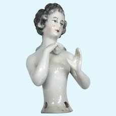 Lovely German Nude Half Doll Arms Away Holding Note Brush Stroke Hair Pin Cushion