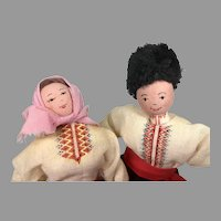 2 Vintage Wood Cloth Doll Bulgaria Couple All Original