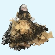 """1.5"""" Early High Brow China Doll Antique Miniature Frozen Charlotte"""