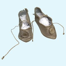 Antique Cloth Pointy Toe Doll Shoes