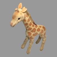 """6"""" Vintage Steiff Doll Size Velveteen Giraffe"""