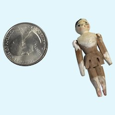 Tiny Peg Wood Doll Antique Jointed Dollhouse Miniature