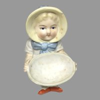 German All Bisque Molded Bonnet Figurine Bowl Antique Doll