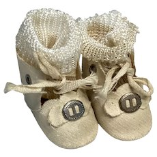 Vintage Doll Shoes Metal Buckle Bow & Socks