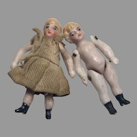 2 Darling Miniature All Bisque Antique German Doll Brother Sister
