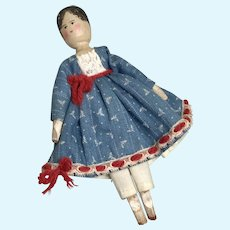 Charming Peg Wood Jointed Antique Doll