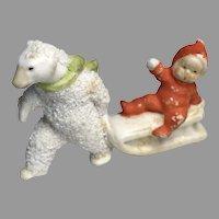 Cute Miniature German All Bisque Polar Bear Sled Winter Christmas Snow Baby