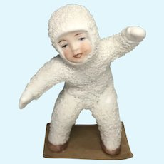 Large German All Bisque Snow Baby Dollhouse Size Doll
