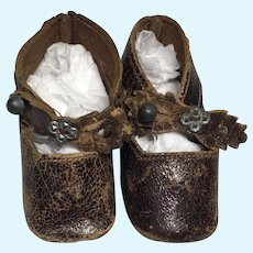 Antique Keystone Stamped French German Bebe Doll Shoes
