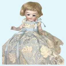 Lovely All Bisque Glass Eye German 122 Antique Half Doll Pin Cushion
