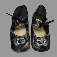 Large Antique Leather Doll Shoes Bow Metal Buckle