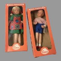 2 Mint in Box Vintage German Dollhouse Doll Boy Girl Caco