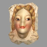 Beautiful Boudoir Bed Doll Head Silk Face Wm. Gluckin