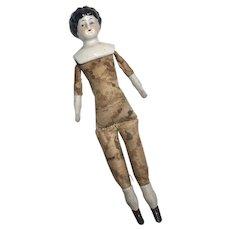Fancy Printed Cloth Body Antique German China Head Doll