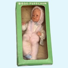 Caco Vintage German Dollhouse Baby Doll All Original with Box