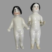 2 Tiny Antique Frozen Charlotte China Doll Miniature Pair