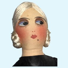 Vintage Cloth Face Boudoir Bed Doll Great Silk Floss Braided Wig