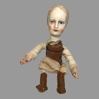 Interesting Antique Wood Compo Doll Folk Art