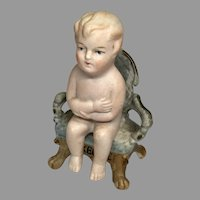All Bisque Sitting Doll Antique German Miniature Bisque Chair