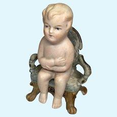 All Bisque Sitting Doll Antique German Miniature Bisque Chair