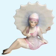 Lovely German Bathing Beauty Antique Doll with Parasol