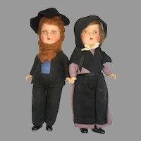 2 German Compo Papier Mache Doll Pair Original Clothes Antique Amish Pennsylvania Dutch