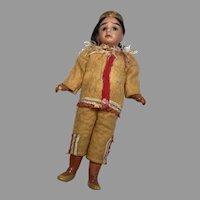 Antique German Bisque All Original Native American Indian Doll