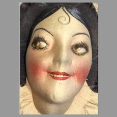 Deco Smiling Boudoir Doll Head Cloth Mask Face